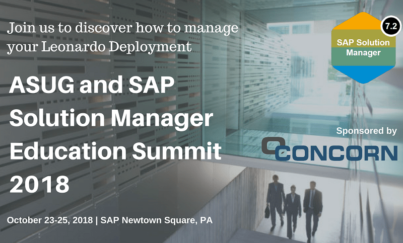 CONCORN sponsors SAP Solution Manager Education Summit 2018